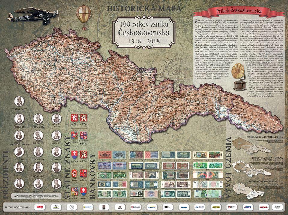Historická mapa 100 rokov vzniku Československa 1918-2018 je mapový bestseller